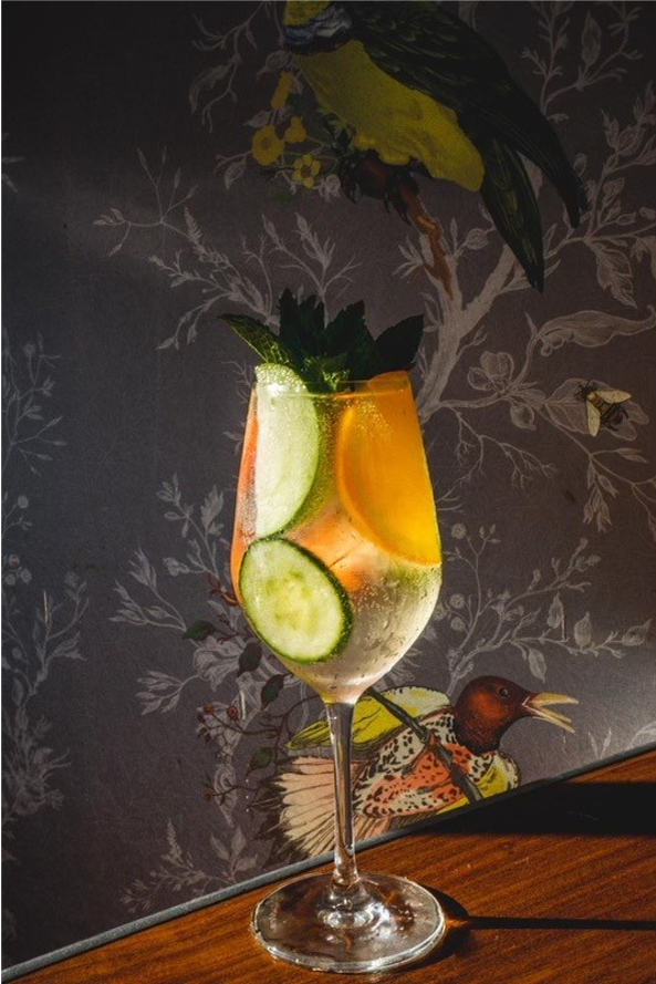 A clear cocktail in a wine glass filled with cucumber, apple and orange slices