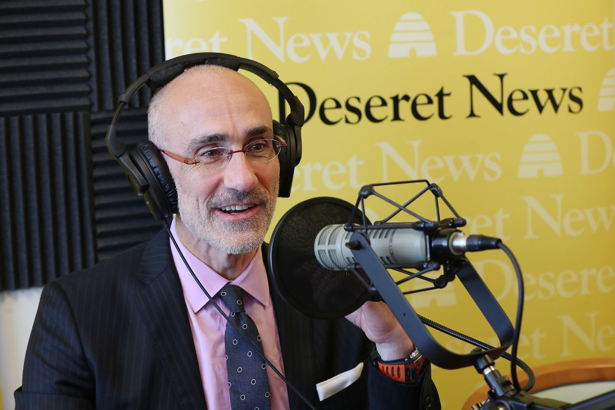 Author and social scientist Arthur Brooks speaks during a Deseret News podcast in Salt Lake City on Friday, Oct. 12, 2018.