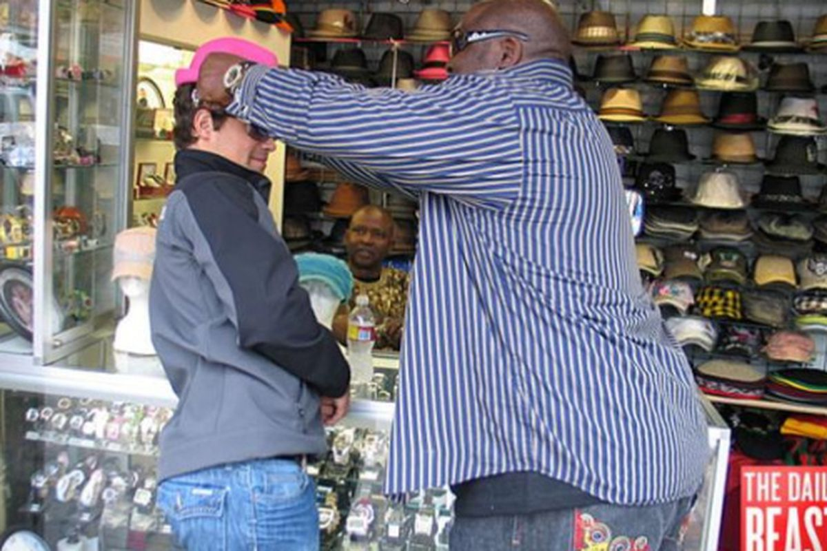 """Shrinking from a pink fedora. Image via <a href=""""http://www.thedailybeast.com/blogs-and-stories/2009-06-16/shopping-with-levi-johnston/full/#"""">The Daily Beast</a>"""