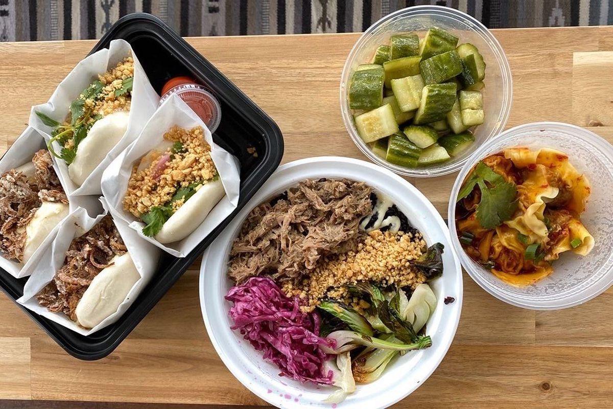 several plates of taiwanese food