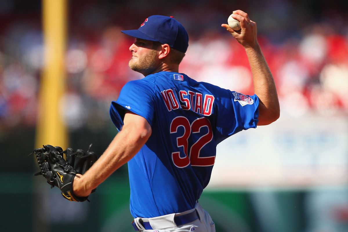 Starter Chris Volstad of the Chicago Cubs pitches against the St. Louis Cardinals at Busch Stadium in St. Louis, Missouri.  (Photo by Dilip Vishwanat/Getty Images)