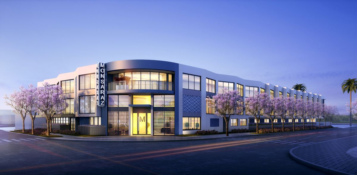 Rendering of the outside of The Monsaraz Hotel in Point Loma
