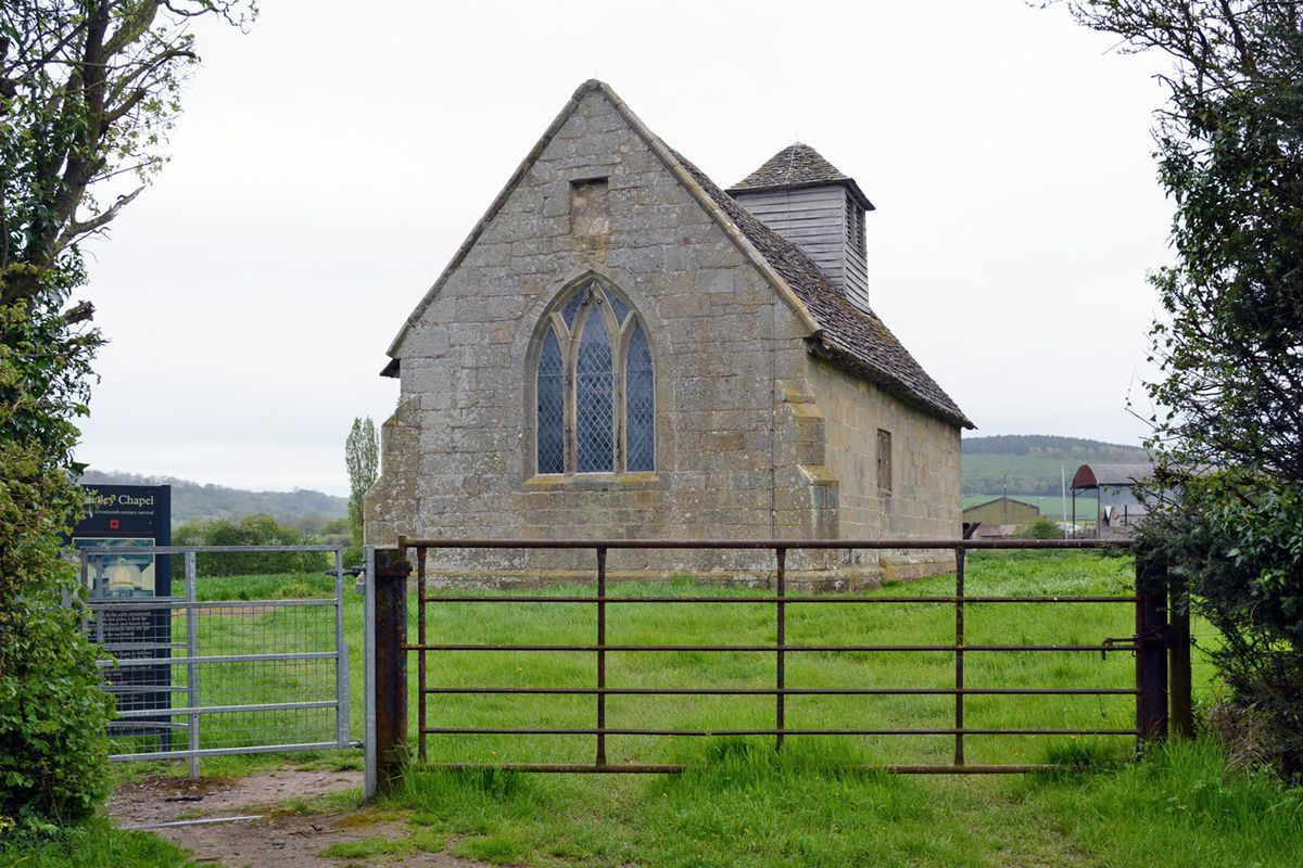 The Langley Puritan chapel near Acton Burnell, Shropshire, England viewed from the east.