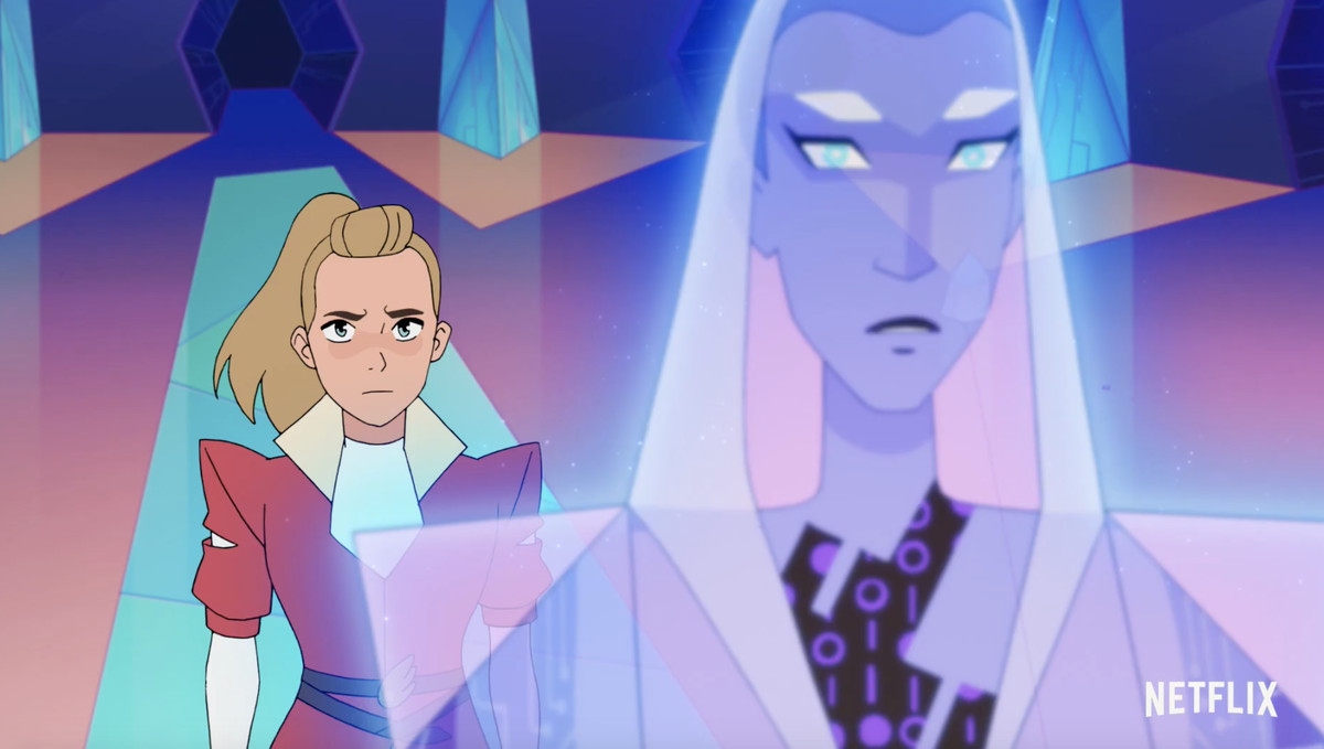 adora, a blonde girl in a pink jacket, scowls at Light Hope, a purple holographic woman
