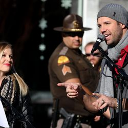 Singer songwriters Carmen Rasmusen Herbert and David Osmond perform at a launch of the new Holiday DUI-prevention effort between the Utah Highway Safety Office, Utah Highway Patrol, local law enforcement and the Utah Department of Alcoholic Beverage Control at Fashion Place Mall in Murray on Friday, Dec. 18, 2015.
