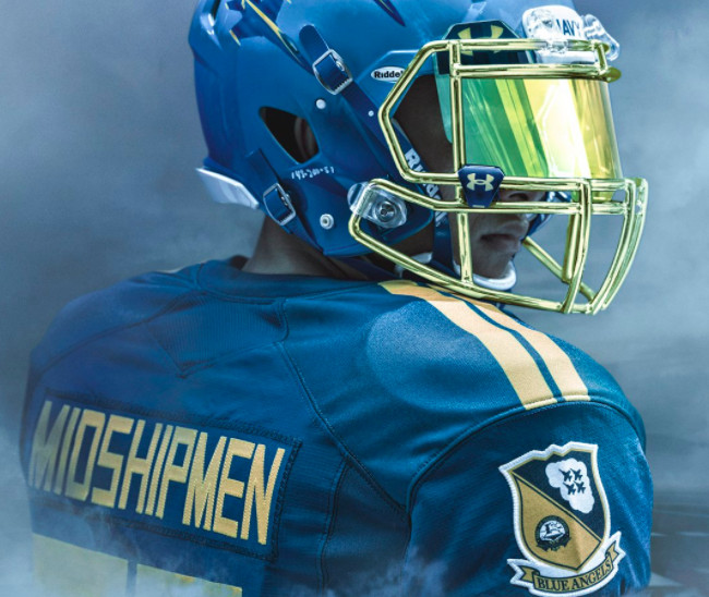 Army vs. Navy 2017  Midshipmen wearing gorgeous Blue Angels uniforms ... 66468294b