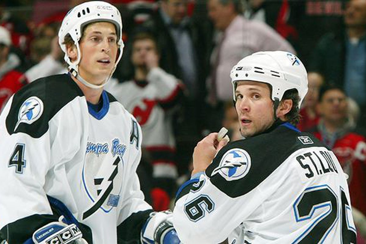 """Martin St. Louis and Vincent Lecavalier are members of most of the Lightning's prolific line-combos from the last decade.  But which line combination was most fab?  (<a href=""""http://sports.espn.go.com/nhl/preview2007/team?page=nhlpre07/tam"""">ESPN</a>)"""