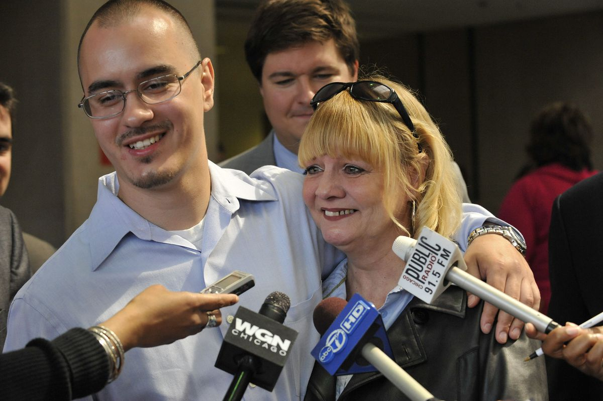 """Thaddeus """"T.J."""" Jimenez and his mother Victoria in 2009 after he was awarded a certificate of innocence."""