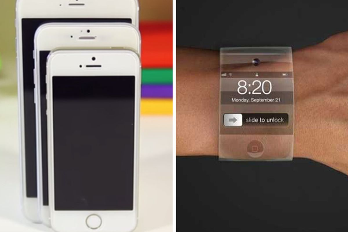 """Phablet mock-up by TechSmartt and iWatch mock-up by VeneStudio; both photos via <a href=""""http://www.businessinsider.com/"""">Business Insider</a>"""