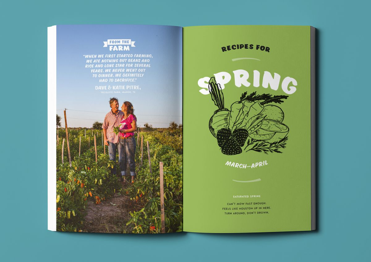 A photograph of Tecolote Farms and the introduction to the spring section in Odd Duck Almanac