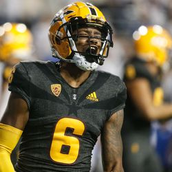 Arizona State defensive back Tommi Hill (6) reacts after a touchdown during an NCAA college football game against BYU at LaVell Edwards Stadium in Provo on Saturday, Sept. 18, 2021.