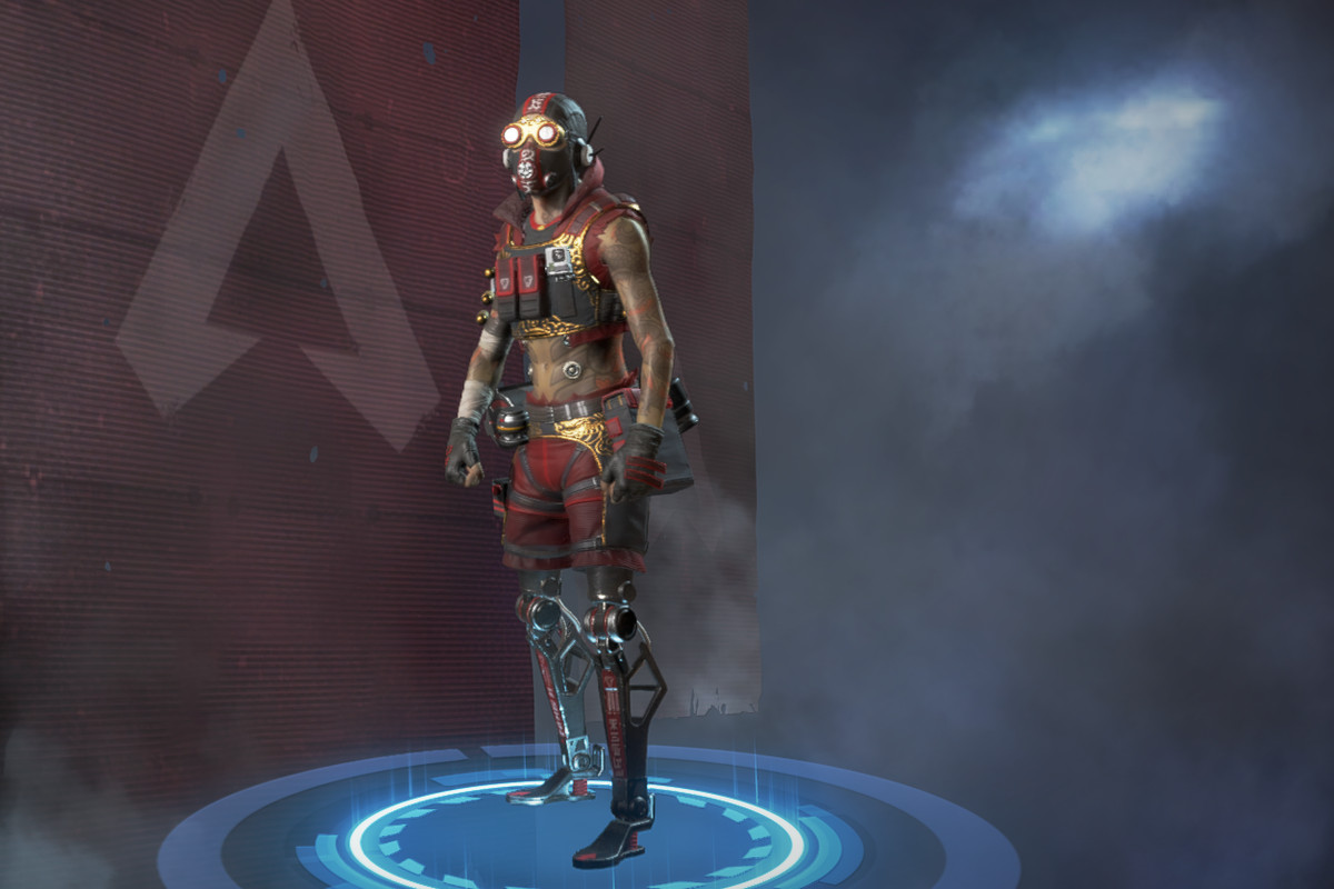 Octane wearing the Whiplash skin in the Apex Legends skin select menu