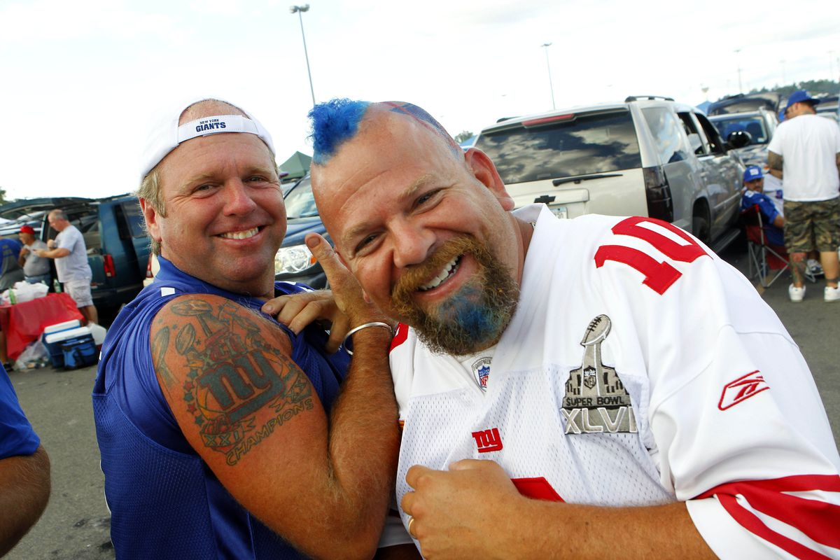 Giants' fans enjoy themselves during a tailgate