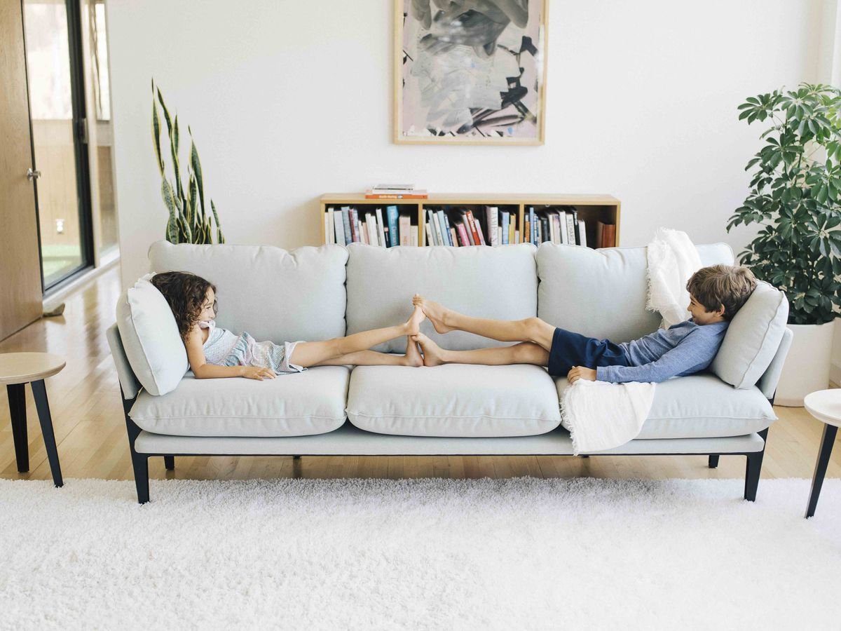 Upholstered Couch With Kids On It