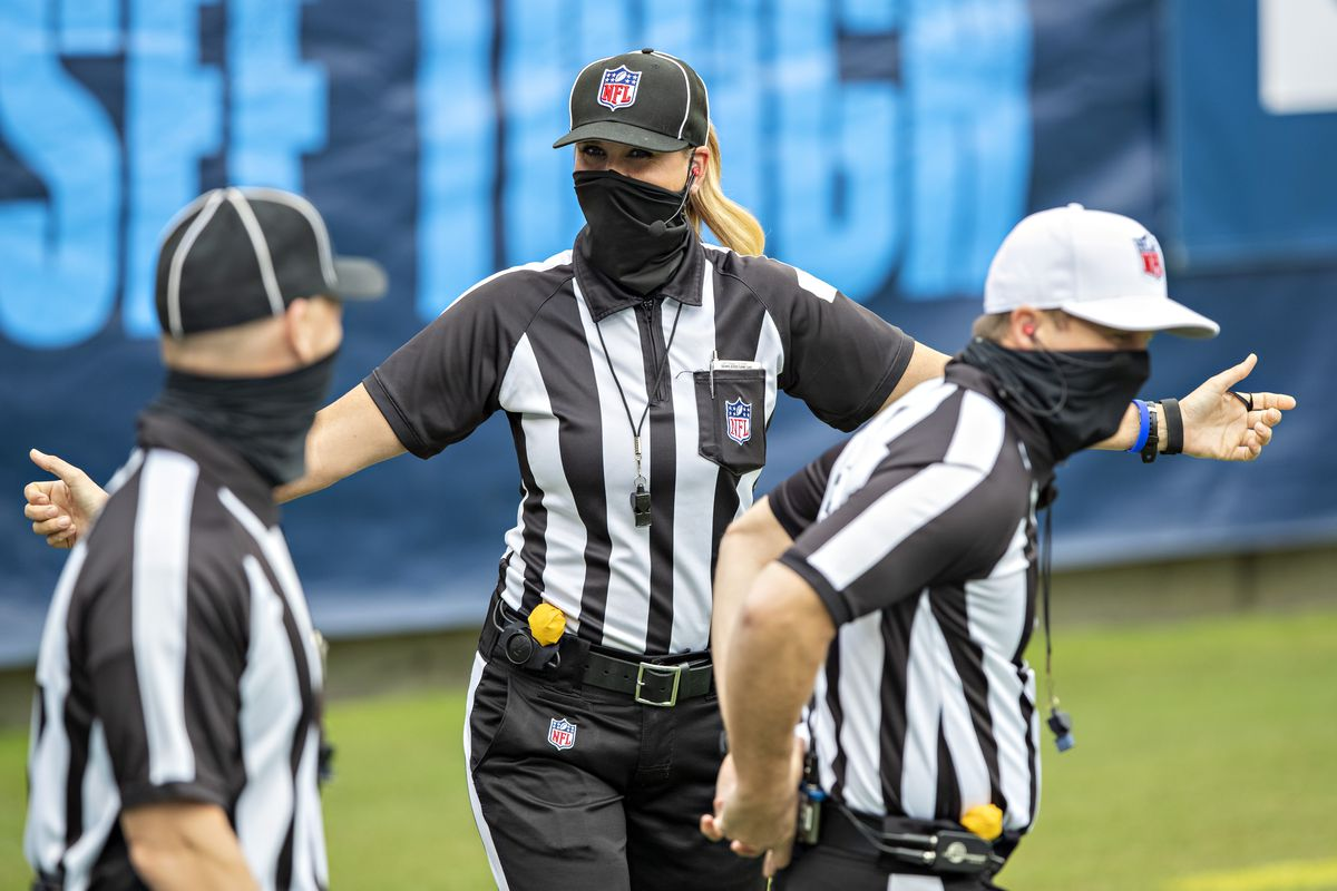 Down Judge Sarah Thomas poses for the camera before a game between the Tennessee Titans and the Pittsburgh Steelers at Nissan Stadium on October 25, 2020 in Nashville, Tennessee.