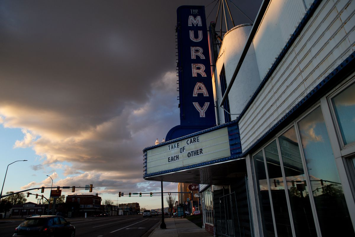 A phrase on the marquee outside Murray Theater encourages people during the COVID-19 pandemic on Thursday, April 16, 2020.