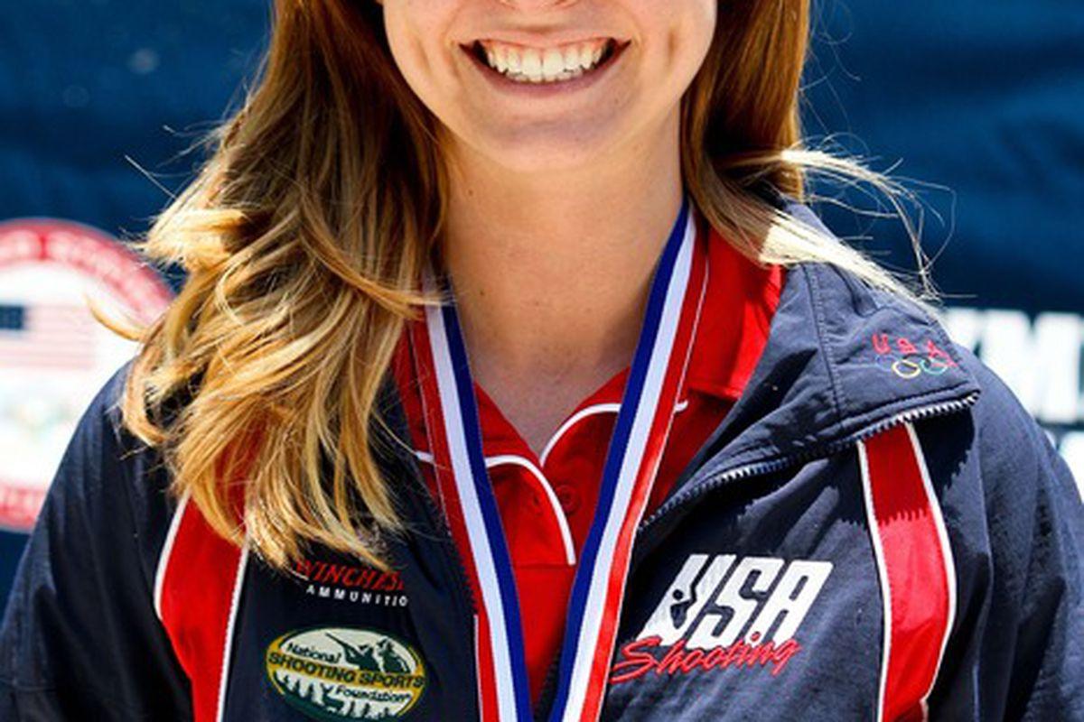 June 8, 2012; Columbus, GA, USA; Amanda Furrer accepts her gold medal at the U.S. shooting olympic team trials in three position rifle at Ft. Benning. Mandatory Credit: Daniel Shirey-US PRESSWIRE