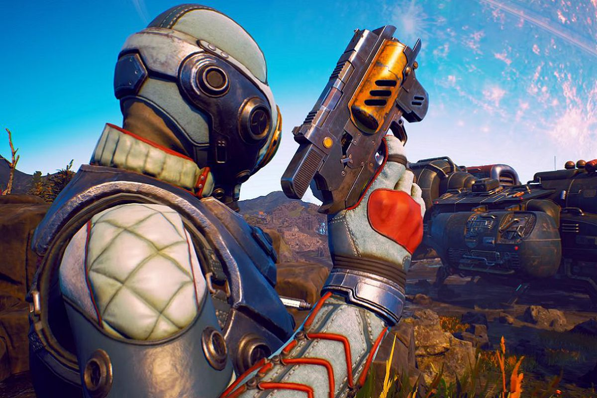 The Outer Worlds - a figure in a spacesuit holds up a pistol with a vessel in the background