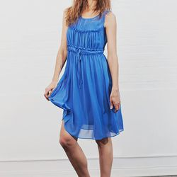 """<b>Trend 3, Blue:</b> """"Get ready to enter your blue period. To put it simply, blue is everywhere this spring! It is so refreshing and suitable for every occasion."""" Vanessa Bruno blue silk dress: $550."""