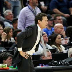 Utah Jazz head coach Quin Snyder watches the Jazz play against the Portland Trail Blazers at Vivint Smart Home Arena in Salt Lake City on Friday, Feb. 7, 2020.
