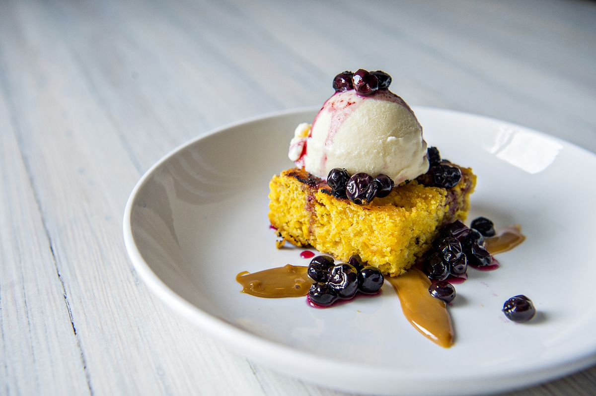 For dessert, the grilled sweet corn cake with fresh milk ice cream topped with macerated blueberries.