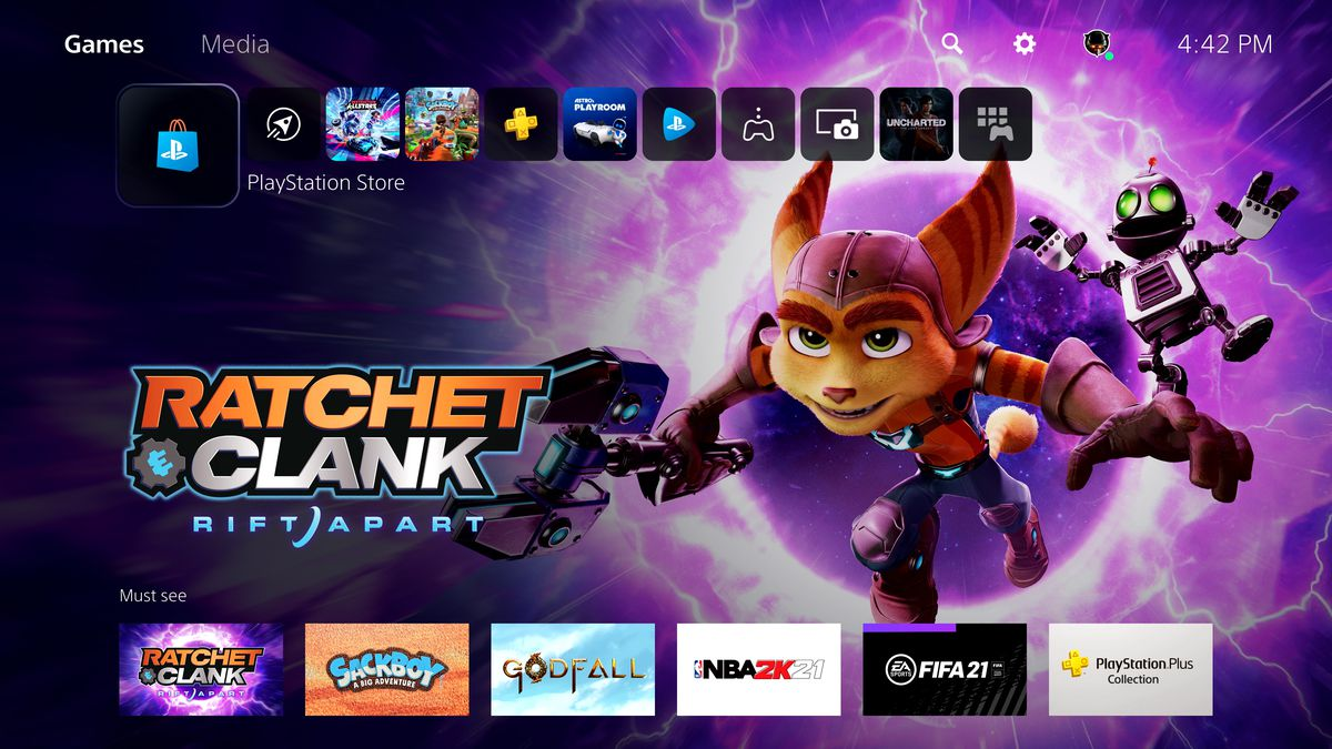 the Games home screen of the PS5 dashboard, showing Ratchet & Clank: Rift Apart