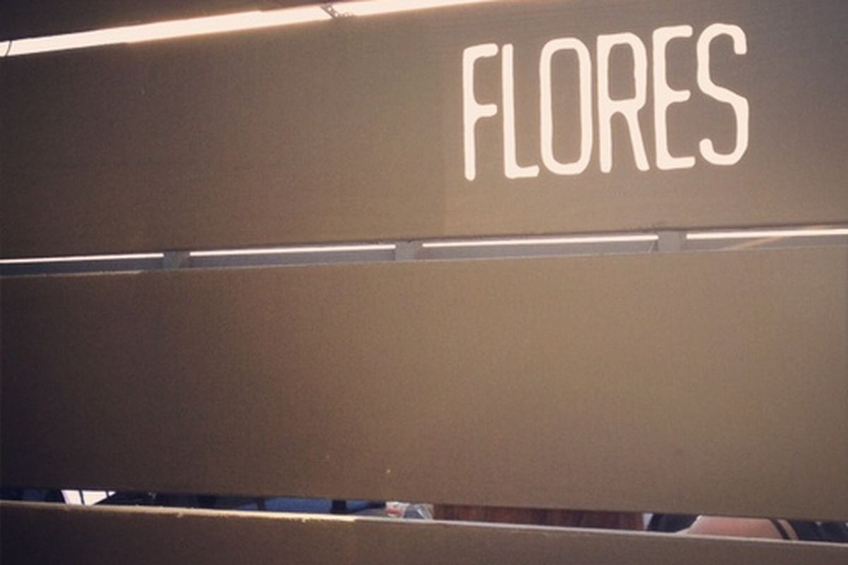Signage at Flores on Sawtelle.