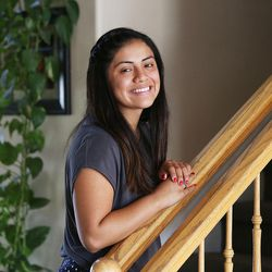 Stephanie Pesantes, who traveled to Washington, D.C., to meet with Michelle Obama, poses for a portrait in Salt Lake City, Tuesday, July 28, 2015.