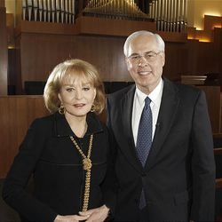 """Barbara Walters visits the LDS meetinghouse in New York City and speaks with Elder William R. Walker for an update to her """"Heaven"""" special airing on ABC."""