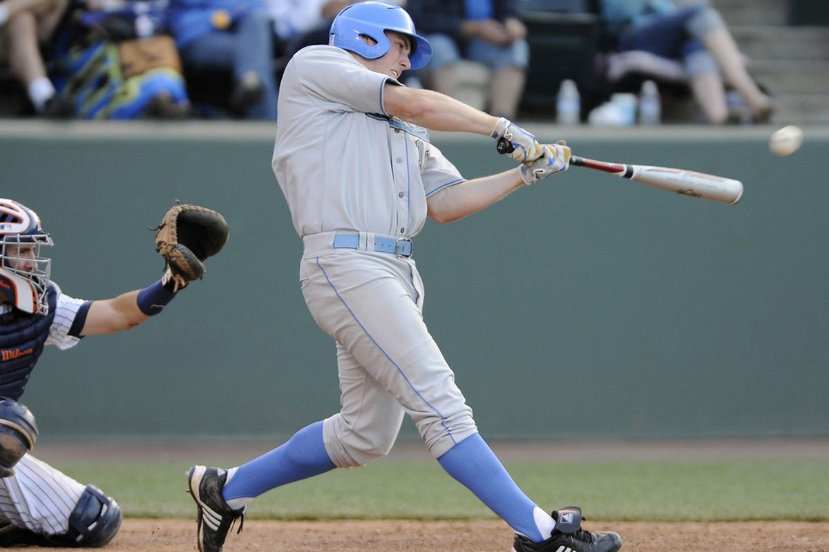 Cody Regis' two hits led the way for an anemic Bruin offense (Photo Credit: Carlos Delgado/UCLA Athletics)