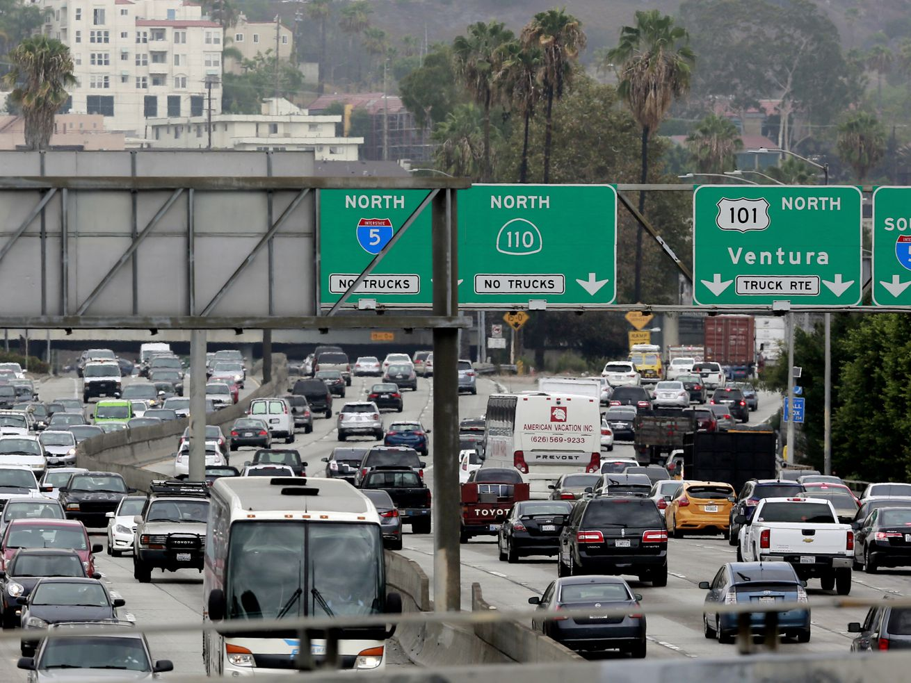 Two stretches of freeway—including the 101 from Hollywood to Downtown—made INRIX's list of the most traffic-clogged U.S. corridors.