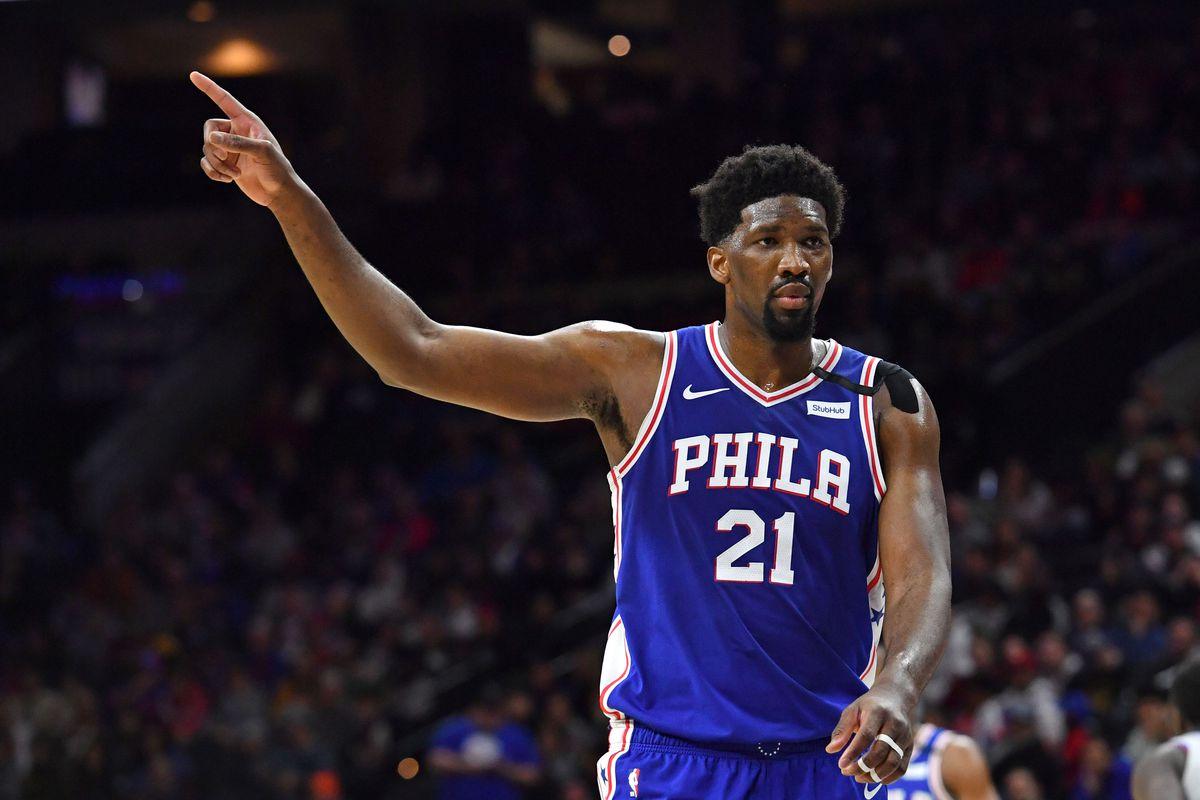 Philadelphia 76ers center Joel Embiid during the third quarter against the Detroit Pistons at Wells Fargo Center.