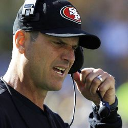 San Francisco 49ers head coach Jim Harbaugh reacts during the first half of an NFL football game  against the Green Bay Packers Sunday, Sept. 9, 2012, in Green Bay, Wis.
