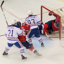 Ward Knocked Into Oilers Net