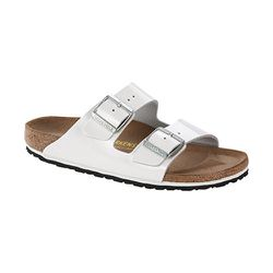 """<strong>Birkenstock</strong> White Patent Leather Arizona, <a href=""""https://www.birkenstockusa.com/products/women/sandals/arizona/white-patent-leather/55263"""">$120</a> at Heidi Says Shoes"""