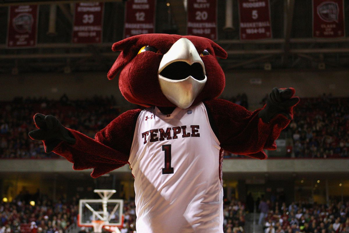 PHILADELPHIA, PA - DECEMBER 10:  Hooter the mascot for the Temple Owls performs against the Villanova Wildcats at the Liacouras Center on December 10, 2011 in Philadelphia, Pennsylvania.  (Photo by Chris Chambers/Getty Images)