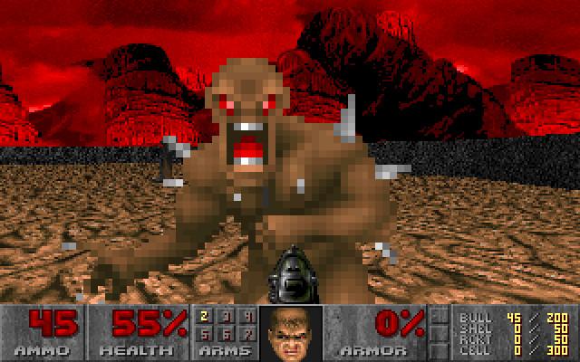A closeup of a demo from Doom
