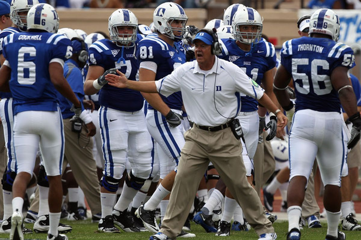 DURHAM NC - SEPTEMBER 25:  Head coach David Cutcliffe of the Duke Blue Devils cheers on his team the Army Black Knights at Wallace Wade Stadium on September 25 2010 in Durham North Carolina.  (Photo by Streeter Lecka/Getty Images)