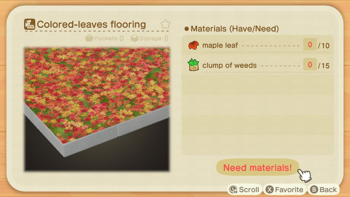 A recipe list for a Colored-leaves Flooring
