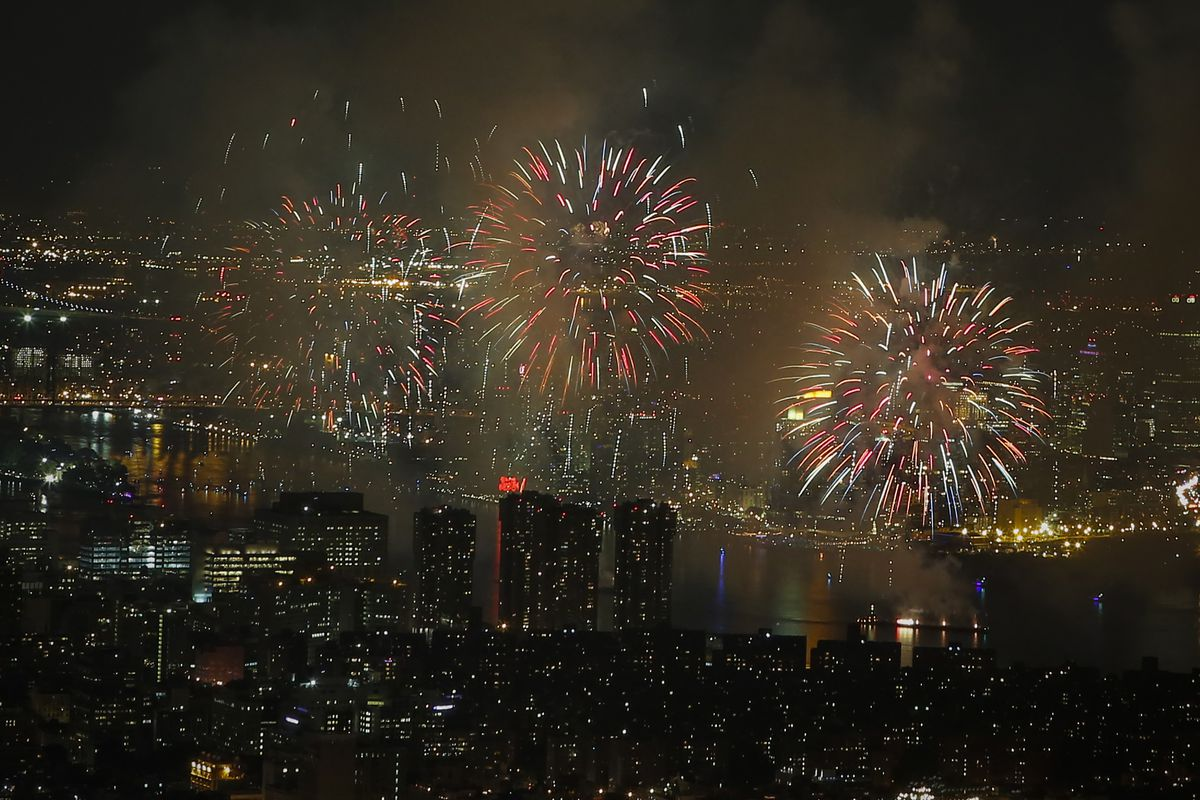The 2015 Macy's 4th of July Fireworkss are seen along East river from the One World Trade Center Observatory on July 4, 2015 in New York City.
