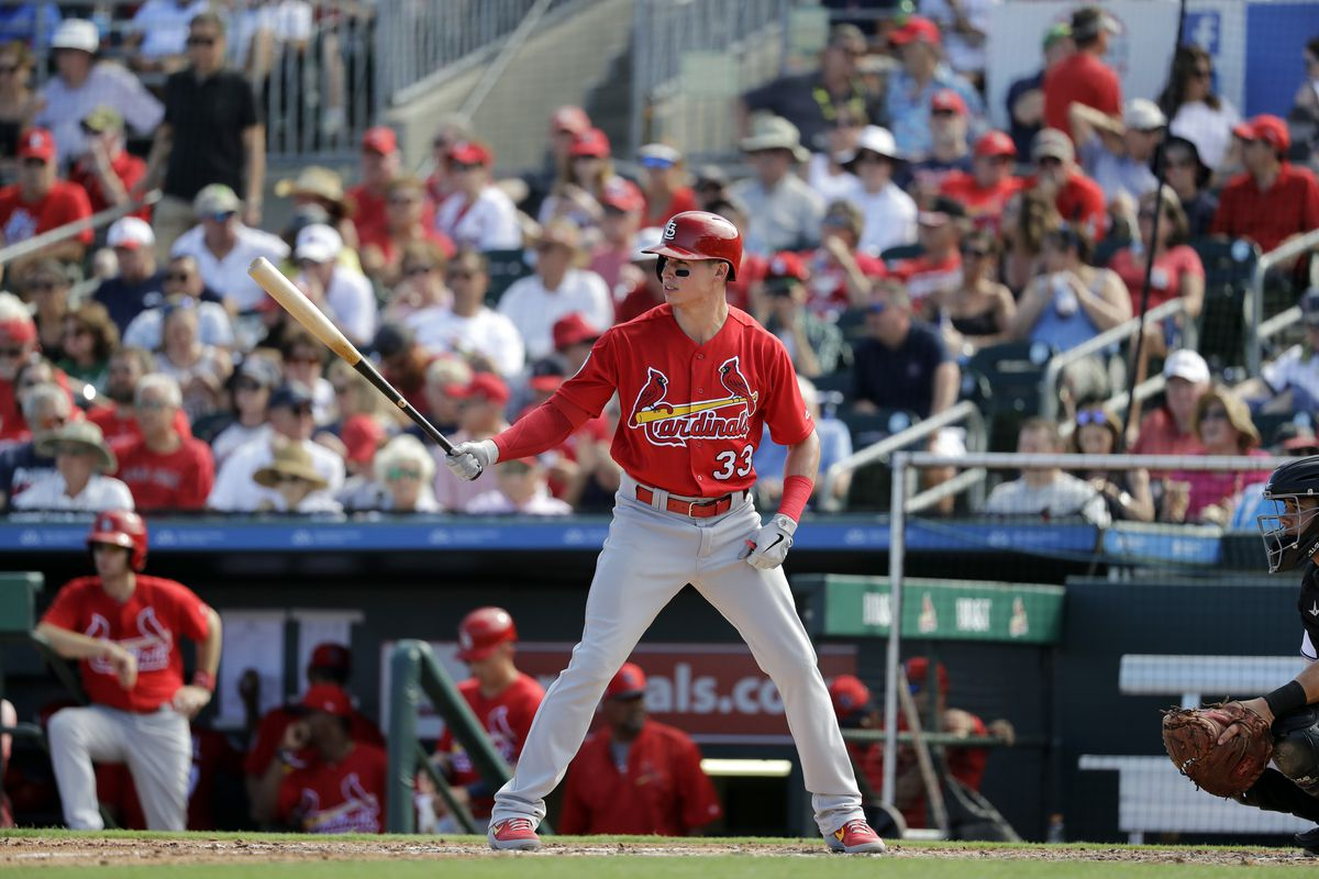 St. Louis Cardinals' Drew Robinson bats during the fifth inning of an exhibition spring training baseball game against the Miami Marlins Saturday.