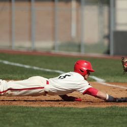 American Fork's Nate Bartholomew is thrown out at first by Skyridge's Colby Carter in American Fork on Friday, April 30, 2021.