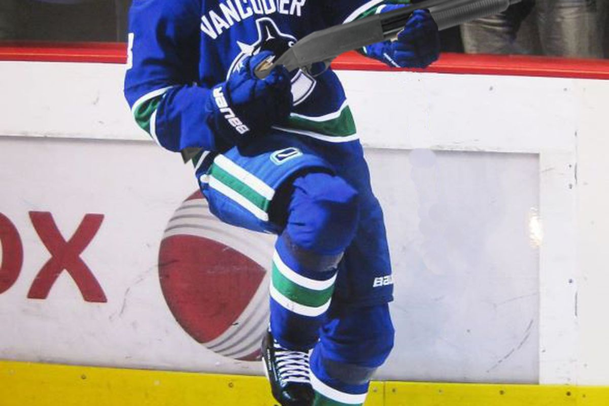 I was going to use a picture of a Canuck scoring a goal from the St. Louis game OH WHOOPS CAN'T DO THAT. Jerks.