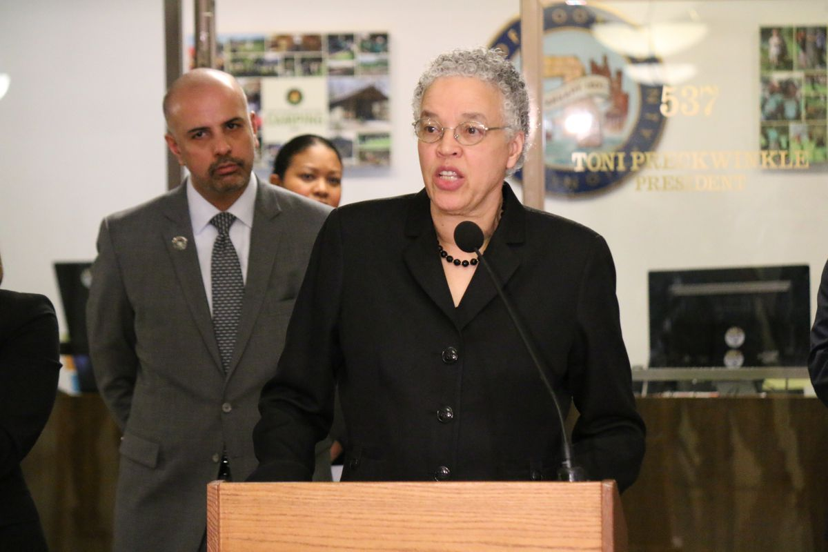 Cook County Board President Toni Preckwinkle unveils the county's economic relief package in March.