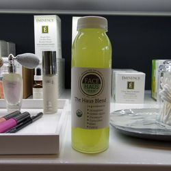 """<a href=""""http://pressbrothersjuicery.com/"""">Press Brothers Juicery</a> concocted this special skin-cleansing, astringent- and antioxidant-loaded juice for Face Haus, and it was totally delish."""