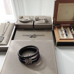 Men's adornments from Montblanc's Monograin collection.