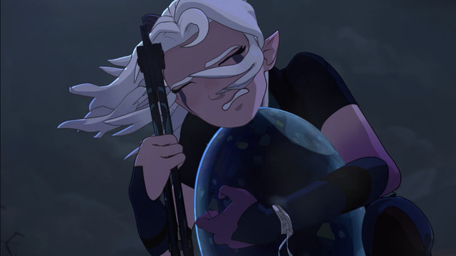 Rayla rescuing the egg
