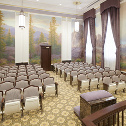 A view of an instruction room in the Mesa Arizona Temple. This is where members learn about God's creation and the purpose of life. New murals that honor the original murals' artists cover the walls. Unique to the Mesa temple, patrons advance room to room. Each instruction room is slightly elevated above the previous, symbolizing progression to heaven.