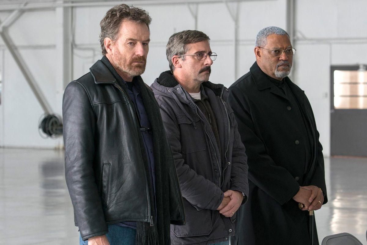 Bryan Cranston, Steve Carell, and Laurence Fishburne in Richard Linklater's Last Flag Flying
