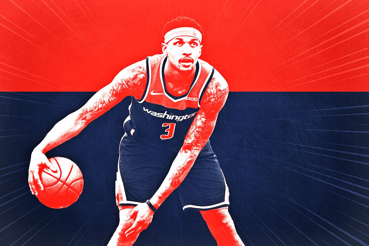 A treated image of Bradley Beal in front of the Washington Wizards' colors of blue and red